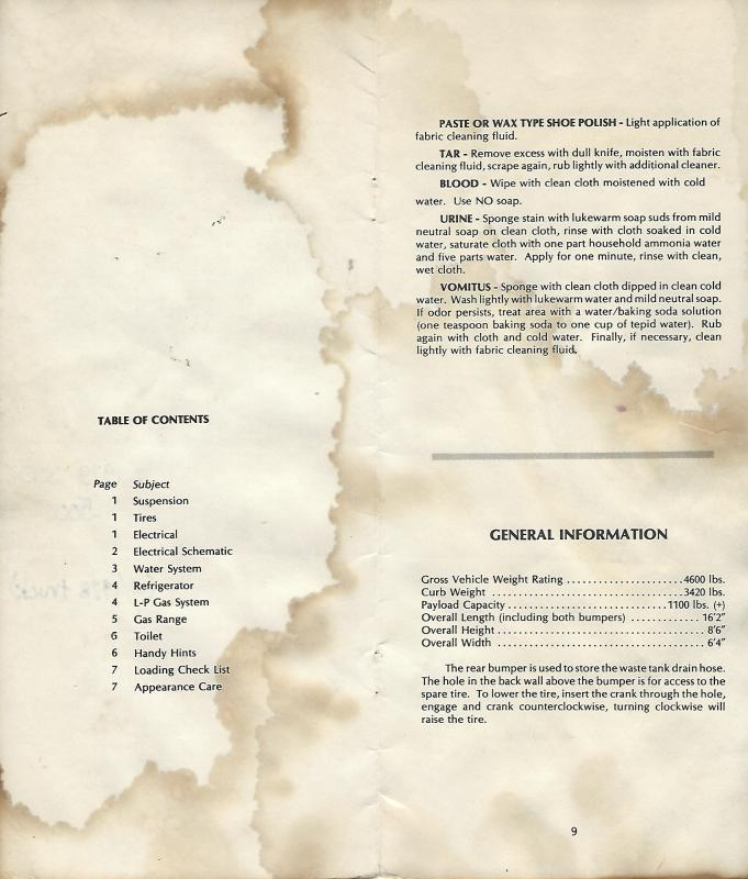 1979 Toyota Dolphin Owner's Manual Table of Contents and Pg 9